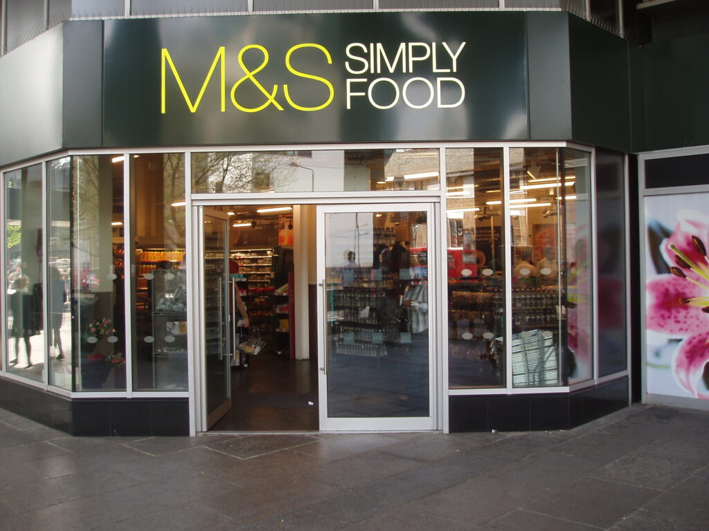JD47 shopfront system installed at M&S retail store
