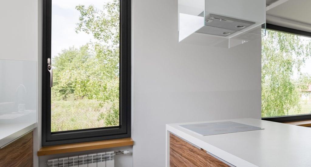 flush aluminium window in kitchen